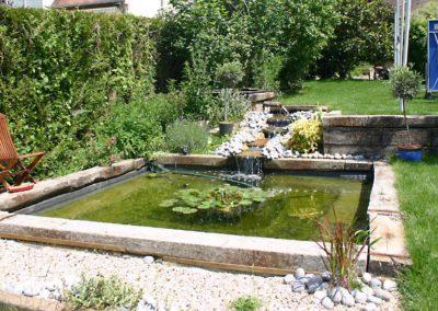 Jardidéal PAYSAGISTE, Nantes : Maçonnerie d'un bassin carré en pierre