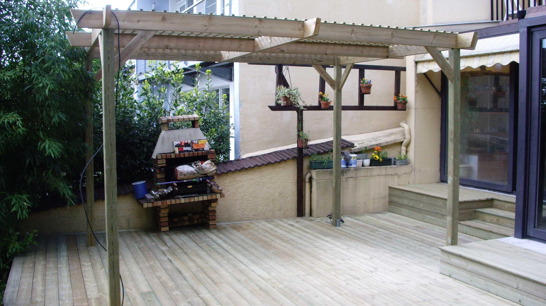 Jardidéal PAYSAGISTE, construction d'une pergola en bois à Nantes