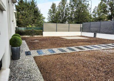 Aménagement paysager complet Nantes, allées, clôture Océwood, gazon