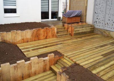 Réaménagement complet, retenu en chêne, terrasse en pin us, Nantes 44